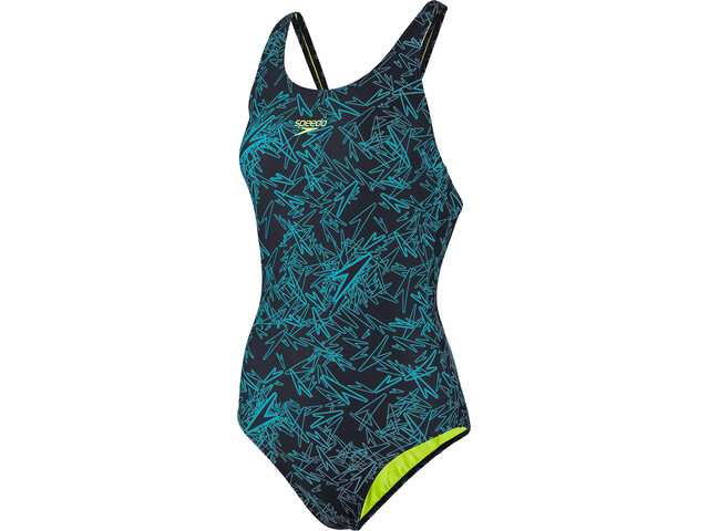 speedo Boom Allover Muscleback Traje de Baño Mujer, navy/aquasplash/bright zest